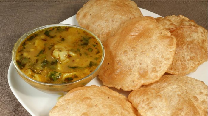 Puri with potato curry
